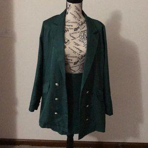Green blazer and skirt set